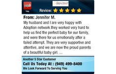 My husband and I are very happy with Adoption network they worked very hard to help us...