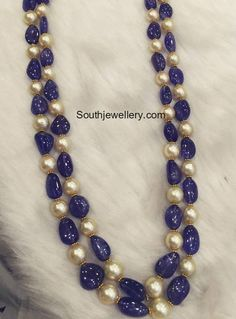 Two Layer simple yet trendy beads necklace, 22 carat gold intricate blue sapphire beads and south sea pearls combination feast for the ey. Beaded Necklace Patterns, Jewelry Patterns, Necklace Designs, Beaded Jewelry Designs, Indian Jewellery Design, Bead Jewellery, Jewelry Necklaces, Designer Jewellery, Jewellery Shops