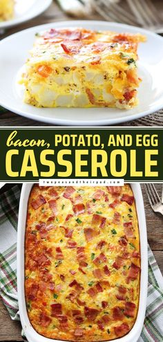Here's a Mother's Day brunch idea to make ahead! This easy egg casserole recipe is a real crowd-pleaser. Everyone will love this breakfast casserole packed with loads of bacon, potatoes, and cheese!