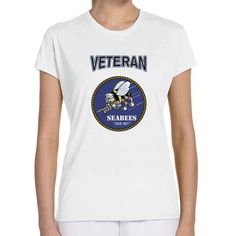 Officially Licensed U.S. Navy Seabees Veteran Ladies White T-Shirt now available! Show your Navy Service pride with this Performance Short Sleeve T-Shirt. This shirt features 100% Polyester antimicrobial, moisture wicking fabric that will keep you cool, dry, and comfortable. THIS IS A PERFORMANCE FABRIC SHIRT, NOT COTTON. Designed, Printed & Sublimated in the USA -Fabric Imported.