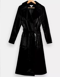 Topshop Black Liquid Vinyl Trench Wardrobe Fails, Tailored Coat, Belted Coat, Fall Trends, Vintage Denim, White Tees, Who What Wear, Coats For Women, Trench