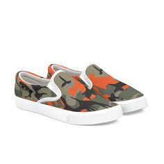 ab9036414101e Camouflage green orange black in Women's Slip-On Shoes by Kongsgart Design  Bucketfeet Shoes,