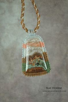 RESERVED FOR CATHY Prudent Man Plume Agate Bead Embroidered Necklace From Diana…