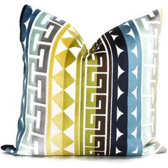Jonathan Adler Decorative Pillow Cover Accent Pillow Blues and Green... ($45) ❤ liked on Polyvore featuring home, home decor, throw pillows, decorative pillows, home & living, home décor, silver, blue green throw pillows, green toss pillows and blue accent pillows