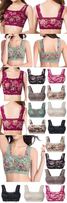 US$ 14.66 Sexy Floral Printing Lace Hem Bras Breathable Wireless Vest Bra