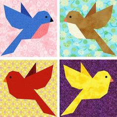 Bluebird of Happiness - paper piecing quilt block pattern by Piece By Number.  Item is for sale, use pix to try to duplicate