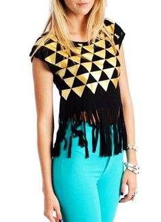 Fringed Triangle Graphic Short Sleeve Trendy Women Top