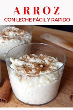 Quick and easy rice pudding. IF rice pudding is one of those desserts that resist you, you have to try this recipe. It is always perfect and is very easy to make faciles gourmet de cocina de postres faciles pasta saludables vegetarianas Mexican Food Recipes, Sweet Recipes, Dessert Recipes, Desserts, Easy Rice Pudding, Cooking Time, Cooking Recipes, Healthy Cake, Latin Food