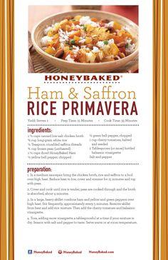 HoneyBaked Ham and Saffron Rice Primavera #HoneyBaked #Ham #Primavera #Recipe www.HoneyBaked.com