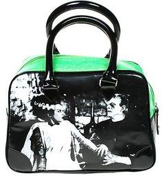 BRIDE OF FRANKENSTEIN PURSE bag goth halloween glitter punk rockabilly vinyl EUC