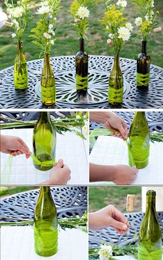 DIY Wine Bottle Vases | Click Pic for 26 DIY Wedding Centerpieces on a Budget | DIY Wedding Decorations for Outside: