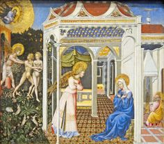 Giovanni di Paolo c. 1403 - 1482  The Annunciation and Expulsion from Paradise, c. 1435. National Gallery Washington, DC