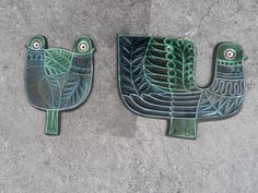 Vintage Retro Mid Century Poole Pottery Robert Jefferson Bird Tiles Plaques 60s