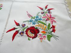 Traditional hand made Hungarian vintage embroidered white cotton tablecloth with…