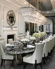 Luxury 24 Modern Table Dining Room Design In 2019 - Home Decor Interior Elegant Dining Room, Luxury Dining Room, Dining Room Sets, Dining Room Design, Dining Room Table, Mirror Dining Table, Formal Dinning Room, Luxury Interior, Room Interior