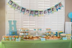 bowtie first birthday party food table with manwiches, bowtie pasta, fruit cups, veggie cups, puffs and food pouches Boys 1st Birthday Party Ideas, First Birthday Parties, Veggie Cups, Fruit Cups, 1st Birthdays, Pouches, Pasta, Table, Desserts