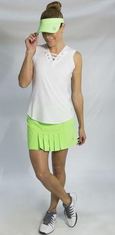 e0d2a7dd374 JoFit Ladies   Plus Size Tennis Outfits (Tanks   Skorts) - Mai Tai (White  Honeydew)