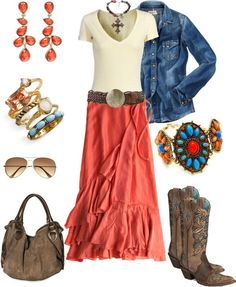 Coral & Denim w/Cowboy Boots. Cute country girl outfit.