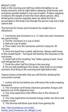 An interesting concept. There is also another recipe that has the honey and cinnnamon at a ratio. Cinnamon and Honey for weight loss. I think I will try this . Healthy Foods To Eat, Healthy Drinks, Get Healthy, Healthy Tips, Health And Nutrition, Health Fitness, Workout Fitness, Nutrition Tips, Thing 1