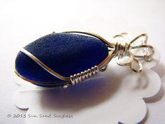 Genuine Dark Blue Seaglass & Sterling Silver Pendant by Sun Sand Seaglass. Sea glass, beach glass.