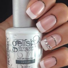 GELISH FRENCH WITH CRYSTALS By Lyubomira S