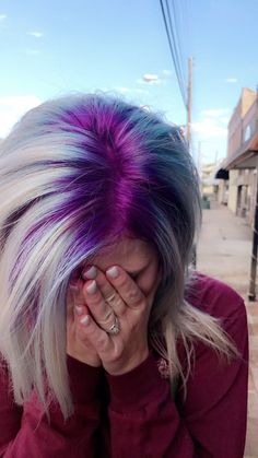 75 Crazy Pastel Hair Color Ideas For Unique Hairstyles crazy hair color, These are the colors I'm really liking for the new me. Probably go for a steely, platinum colour for the contrast… - Station Of Colored Hairs Hair Color Purple, Cool Hair Color, Blue Hair, Blonde Hair Purple Roots, Unique Hair Color, Crazy Colour Hair Dye, Colored Hair Roots, Short Purple Hair, Vivid Hair Color