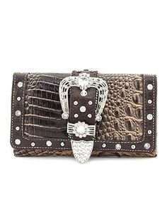 Brown Western Crocodile Rhinestone Buckle Checkbook Wallet Cute Wallets, Crocodile, Gucci, Shoulder Bag, Chain, Brown, Bags, Handbags, Crocodiles
