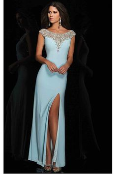 Exquisite Cheap Floor-length Scoop Cap Sleeves Polyester Prom Dresses