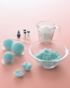 2 cups Epsom salts • 2 tablespoons water  • A few drops essential oil(s) • 1 drop food coloring, plus more if desired  • Special equipment: plastic pipette, large or small round bath-ball molds, storage jars • If bath ball molds are not available, use plastic eggs that open or silicone molds (muffin, ice cube etc)