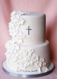 Christening Cake or first communion cake Christening Cake Girls, Baby Girl Baptism, Baptism Party, Baptism Ideas, Girl Baptism Cakes, Simple Baptism Cake, Christening Decorations, Baby Boy, Comunion Cakes