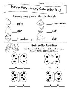 Very Hungry Caterpillar Day is March 20. I created this short morning work sheet for my kindergarten students to use during our short morning work time. The worksheet contains missing phonemes and blank addition problems for students at a kindergarten level.