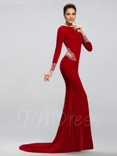 #TBDress - #TBDress Long Sleeves Mermaid Sweep/Brush Train Evening/Prom Dress - AdoreWe.com