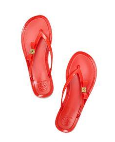 Tory Burch Orange Michaela Bow Jelly Flip Flops
