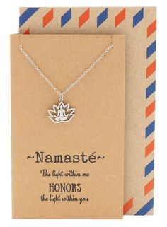 Aura Yoga Lotus Pose Necklace, Yoga Jewelry, Silver - Quan Jewelry - 1