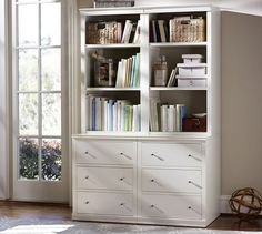 """$2100  48"""" wide x 23.5"""" deep x 75"""" high  Logan Bookcase (2 24"""" bases with drawers & 2 24"""" hutches with open shelves), Antique White"""
