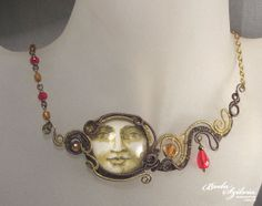 SUNSET  wire wrapped necklace  copper and brass by bodaszilvia, $69.50