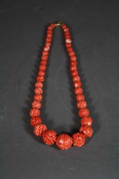 Chinese Carved Red Coral Beads Necklace Very Good C