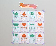 Calendário 2014 para download - Com imagens para bordar em ponto cruz.