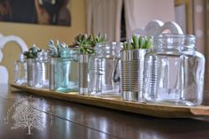 Succulents and tin can centerpieces! I just love succulents.and they were perfect for the recent graduation party that we hosted for our son. Tin Can Centerpieces, Summer Centerpieces, Graduation Party Foods, Chicken Feeders, Thrifty Decor Chick, Savvy Southern Style, Funky Junk Interiors, Personal Hygiene, Centre Pieces