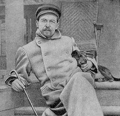 Anton Chekhov and one of his dogs