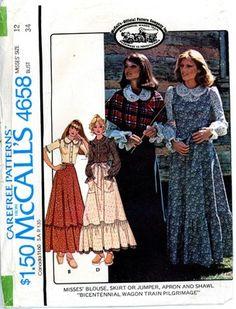 McCall's 4658 Prairie Skirt, Blouse, Apron, Shawl Pattern size 12. A 1970s sewing pattern.