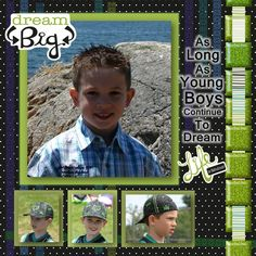 """cute """"boy"""" layout.... I <3 the glitter square tiles down the right side (glitter can be for a boy, too!)"""