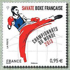 Savate Boxe française Championnats du Monde 2013 Le - Timbre de 2013
