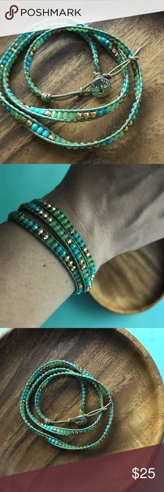 Beaded wrap bracelet Turquoise, green, and gold beads. Very good condition. Worn only a few times. Stella & Dot Jewelry Bracelets