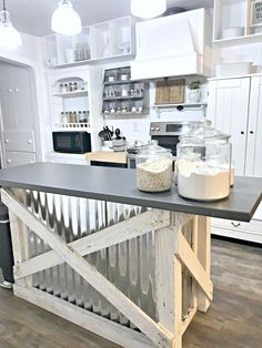 Farmhouse kitchen updated with rustic island