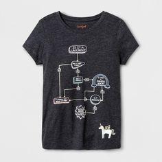 Girls' Short Sleeve Unicorn Flowchart Graphic T-Shirt - Cat & Jack Black XL