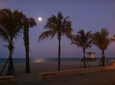 Nighttime at Hollywood Beach Florida