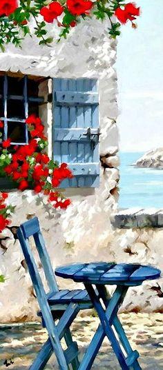 (Grecia)  ¡Que bonita acuarela! Amo al las personas que llevan poesía en sus almas, arte en sus ojos,  música en su corazón....