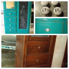 old armoire redo.. used rubber stamp to print on tissue paper then modge podge on wooden  knobs painted white= custom knobs LOVE IT added chalk board paint and intence teal paint~ Great pop of color for craft room storage