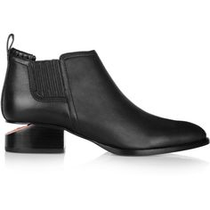 Alexander Wang Kori leather ankle boots (2.825 RON) ❤ liked on Polyvore featuring shoes, boots, ankle booties, black, leather booties, leather bootie, black leather ankle booties, black ankle booties and pull on leather boots